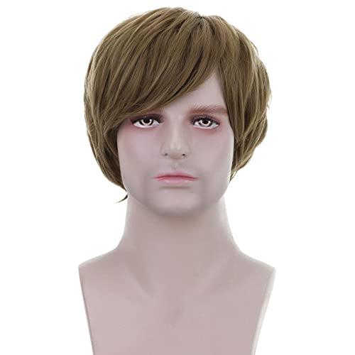 Belleza corto recto sintético pelo castaño Pelucas con flequillo lateral para hombres Diario Cosplay traje Halloween