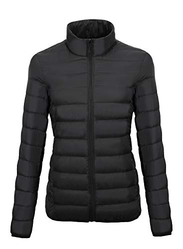 ZITY Packable Down Jacket Women Hooded Stand Collar Lightweight Water-Resistant Coats (Black, Small)