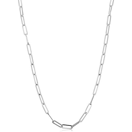 .925 Sterling Silver 3mm Paperclip Chain Necklace For Women - Choose Your Color - 16