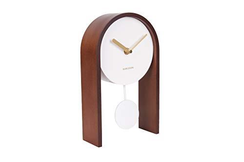 Karlsson - Tischuhr, Pendeluhr Smart - Weiß, Holz - 25 x 15 x 7 cm