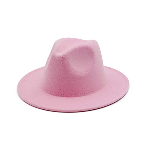 BAJIE Sombrero de Jazz de Fieltro de Lana Fedora para Hombre, cinturón de Color a Juego, cinturón de Invierno, otoño, Sombrero de Vaquero para Fiesta, Sombrero de Boda con Nudo