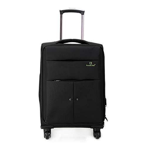 AHJSN 24-Zoll-Oxford-Stoff Universal-Laufrad Travel Password Draw-Bar-Koffer Gepäckträger Schwarz
