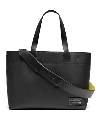 Calvin Klein Celia Vegan Leather Water Resistent Large Tote, Black/Silver