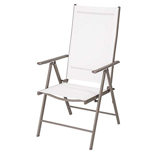 Silla de jardín Plegable reclinable de Hierro Blanca de 58x66x111 cm - LOLAhome