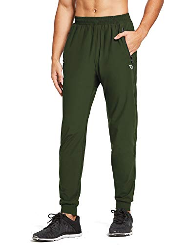 BALEAF Men's Lightweight Jogger Pants Workout Running Athletic Training Gym Quick Dry Tapered Joggers Zipper Pockets Army Green M