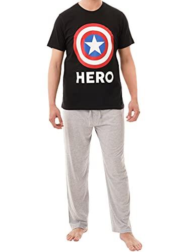 Marvel Pigiama per Uomo Captain America Multicolore X-Large