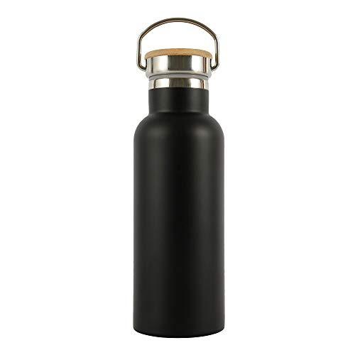 Generic Brands Bouteille d'eau en acier inoxydable avec couvercle étanche en bambou pour voyage, cyclisme, randonnée, camping 500 ml