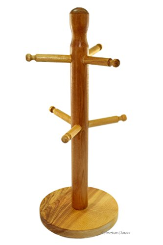 All Natural Wood 6-Cup Rack Coffee Mug Cup Tree Stand
