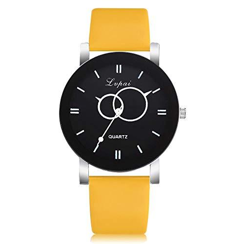 Beobachten Business Black Frame Einfache Mode Uhr Casual Herrenuhr-Gelb