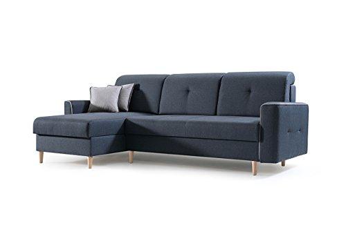 mb-moebel Ecksofa Sofa Eckcouch Couch mit Schlaffunktion und Bettkasten Ottomane L-Form Schlafsofa Bettsofa Polstergarnitur MIKA (Anthrazit, Ecksofa Links)