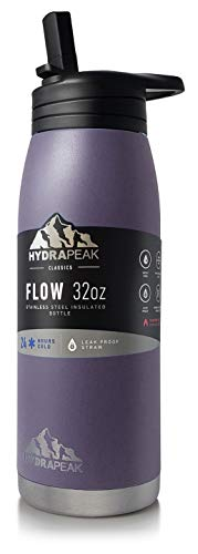 Hydrapeak Flow 32oz Stainless Steel Water Bottle  Vacuum Insulated Thermos  BPA-Free and Leak-Proof  Wide Mouth Flask with Bite Straw Non-Slip Handle  On The Go Personal Canteen Plum 32oz