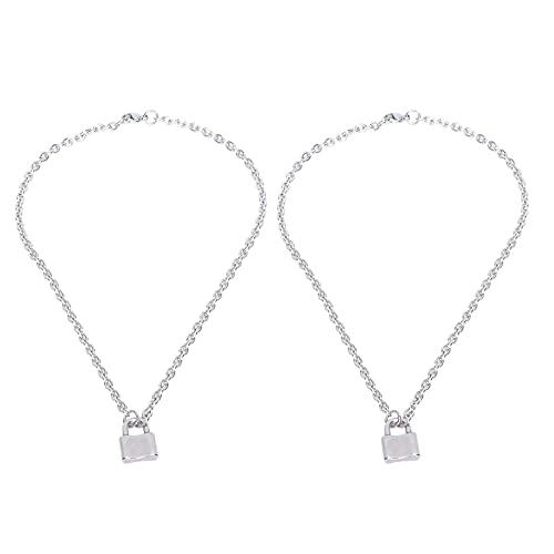 2 uds collar de candado de acero inoxidable Unisex simple candado colgante encanto cadena collar joyería accesorio regalo