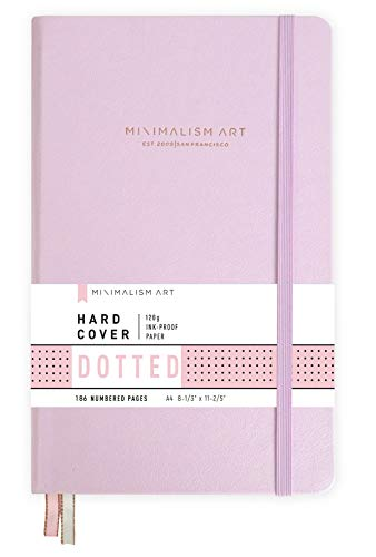 "Minimalism Art, Premium Hard Cover Notebook Journal, X-Large Size, Master A4 8.3"" x 11.4"", 186 Numbered Pages, Gusseted Pocket, Ribbon Bookmark, Extra Thick Ink-Proof Paper 120gsm (Dotted, Amber)"