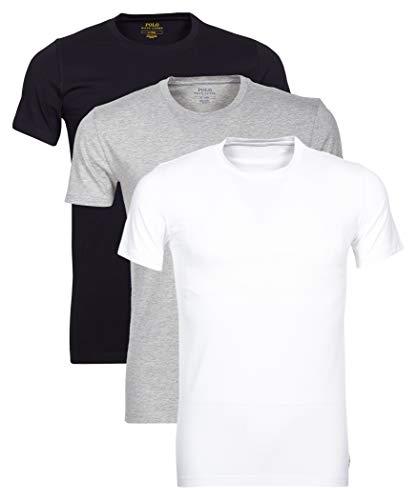 Polo Ralph Lauren Pack de 3 Hombres Camisetas, Cuello Redondo, Media Manga, algodón - Negro/Blanco/Gris (XXL (XX-Large))