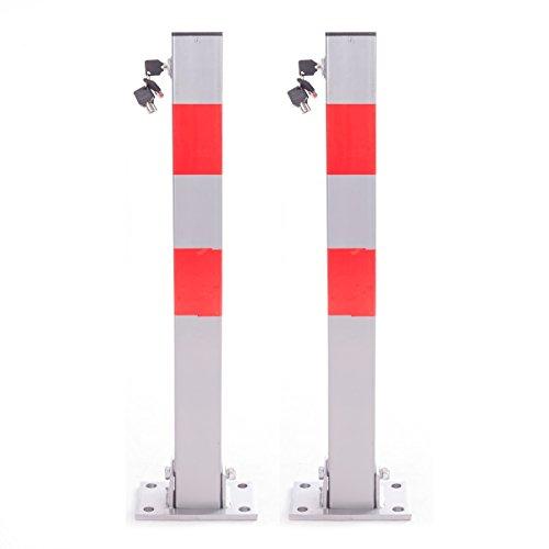 DXP 2x Parkpfosten ParkWatch Eckig Parkplatzsperre Klappbare Absperrpfosten Parkplatz-Barriere mit Schlüssel