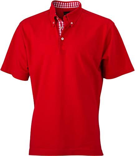 "James & Nicholson Polo da uomo ""Men's Plain"" Rosso/rosso-bianco 54"