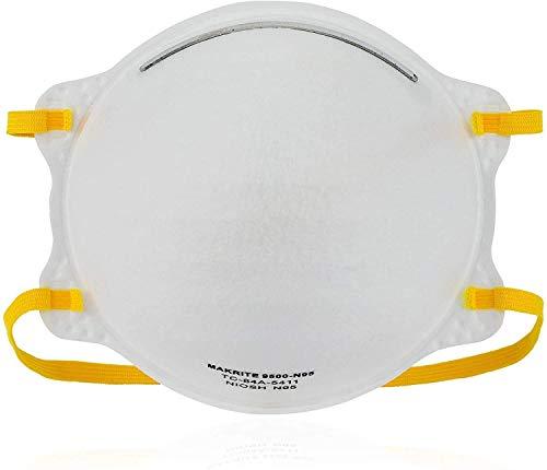 NIOSH Certified Makrite 9500-N95 Pre-Formed Cone Particulate Respirator Mask, M/L Size (Case of 240 Masks)