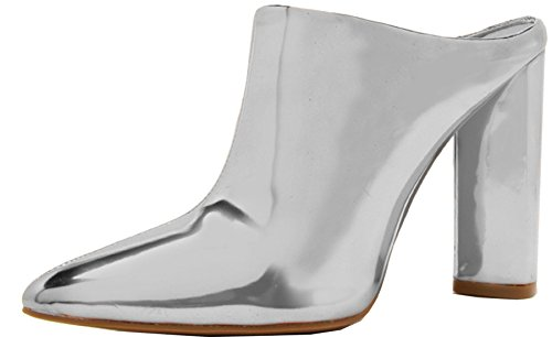 Qupid Women's Slip On Pointed Toe Stacked Chunky Heel Ankle Bootie (7 B(M) US, Silver Shiny Metallic)