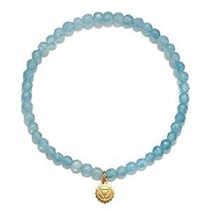 Women's Angelite Gold Throat Chakra Stretch Bracelet