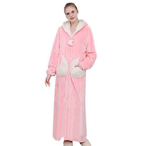 Susenstone Peignoir Femme Polaire A Capuche Hiver Chaud Peignoir avec Fermeture Eclair Microfibre Doux Robe De Chambre MatelasséE Longue Pyjama (XL(EU40), Rouge)