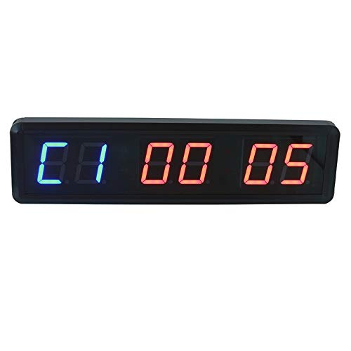 Feixunfan LED Interval Timer 1,8 Inch Countdown Timer Stopwatch Gym Race LED Interval Timer door Afstandsbediening 12/24 Uur Real Time Klok voor Thuis of Commercieel
