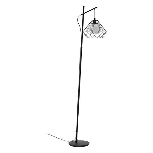 EGLO Stehlampe Vernham, 1 flammige Stehleuchte Vintage, Industrial, Retro, Standleuchte Stahl, bedampftes Glas, Wohnzimmerlampe in Schwarz, Schwarz-Transparent, Lampe mit Tritt-Schalter, E27 Fassung
