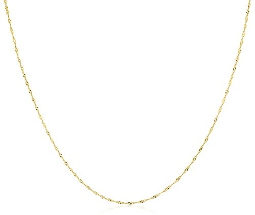 JOTW 10k Yellow Gold 1.5mm Hollow Singapore Chain Necklace - Available in 9