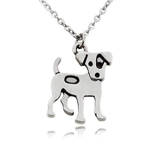 VAWAA Mujeres Collares De Acero Inoxidable Cadena Larga Jack Russell Terrier Encanto Perro Colgante...