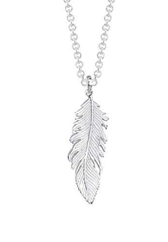 Elli Halskette Elli Damen Halskette mit Feder Symbol Bohemian Beach Gypsy Boho in 925 Sterling Silber 45 cm lang