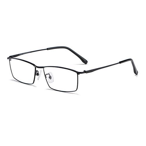 HQMGLASSES Gafas de Lectura Anti-Azul de Titanio de Titanio Ultraligero, Gafas clásicas de Lentes de Resina Rectangular HD de Resina dioptrías +1.0 a +3.0,Negro,+1.0
