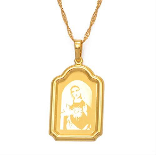 Nuestra Señora Collares Color Dorado Virgen María Collares Pendientes Mujeres Niñas Joyería católica Peregrinación Religiosa 45cm Cadena Delgada