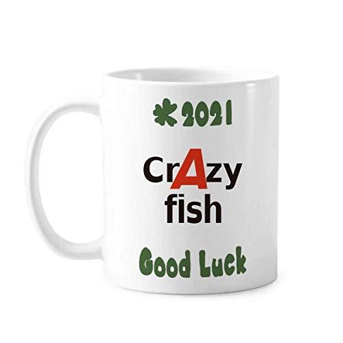 Breve mejor fresco pescado loco de la buena suerte 2021 taza de cerámica café taza de porcelana vajilla
