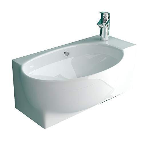 Alpenberger Waschtisch aus Sanitärkeramik mit Überlauf und Nanobeschichtung I Moderne Waschbecken zur Gäste WC Lösung