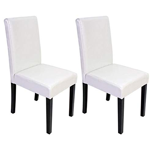 Mendler 2X Esszimmerstuhl Stuhl Küchenstuhl Littau - Leder, weiß, dunkle Beine