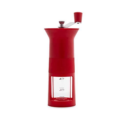 Bialetti Macinacaffè Manuale (con regolatore del Grado di macinatura del caffè), 1/3/6 Tazze, Red, Rosso