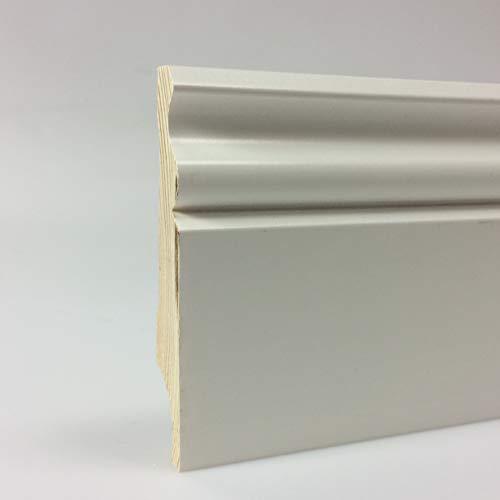 Sockelleiste weiss Holz Hamburger Profil lackiert klassisch Kiefer 18x95mm Fußleiste Bodenleiste - 6er PACK - 6x Stck Leiste a 2400mm - TOTAL 14,4 Meter - KIE-1895-S6-2400