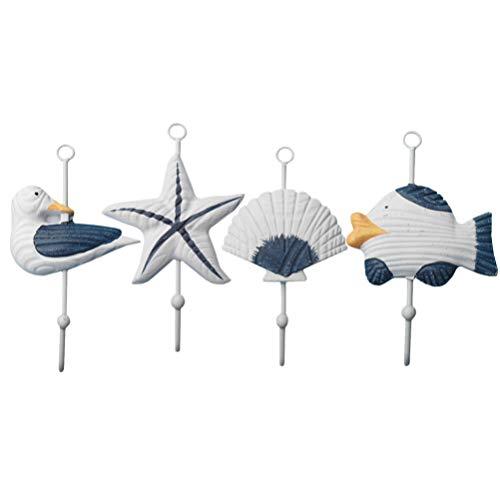 Cabilock 4 Stücke Maritime Kleiderhaken Holz Fisch Seestern Seevogel Haken Kinder Wandhaken Badezimmer Handtuchhaken Mittelmeer Deko Geschenke für Weihnachten Wohnzimmer Wanddeko