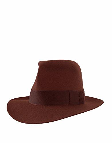 Avonturier wol vilt licht sable bruin Fedora hoed, groot, 59 cm