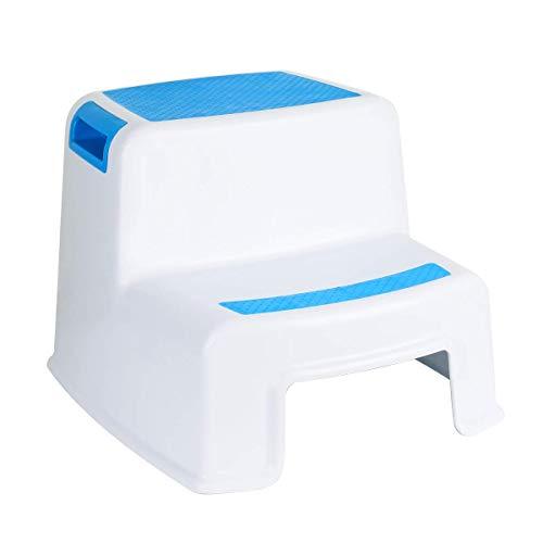 Funhoo - Taburete de Altura Doble para niños, 2 peldaños Antideslizantes para Inodoro o Entrenamiento/Lavado de Manos, Escalera para baño, Inodoro, Cocina, etc. (Azul y Blanco)