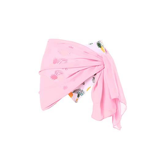 Loalirando - Traje de baño para mujer de muselina con falda Sarong rosa Talla única