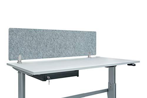Acoustic Screen Vlies Large inkl. Füße | Schreibtisch-Sichtschutz B150 x H40 x T0,8cm |Trennwand schirmt optisch, akustisch u. hygienisch ab | Hygieneschutz aus blickdichtem Akustik-Vlies grau