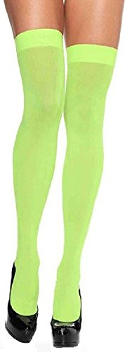 Leg Avenue Damen Overknee Strümpfe Nylon 70 DEN Neon Grün Einheitsgröße 36 bis 40