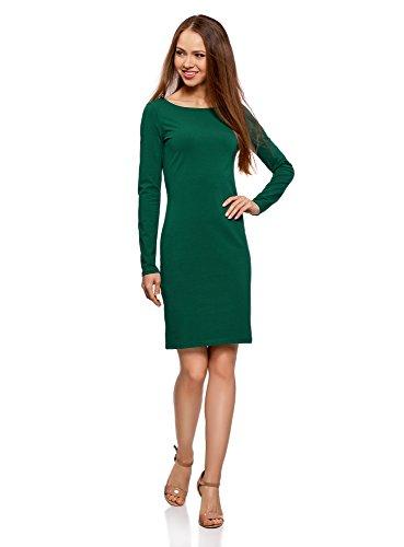 oodji Ultra Damen Enges Kleid Basic, Grün, DE 34 / EU 36 / XS