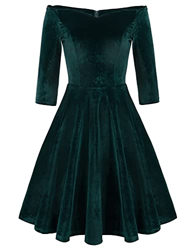 Women's Vintage V-Neck Velvet Cocktail Dress A-line Plus Size 2XL Dark Green