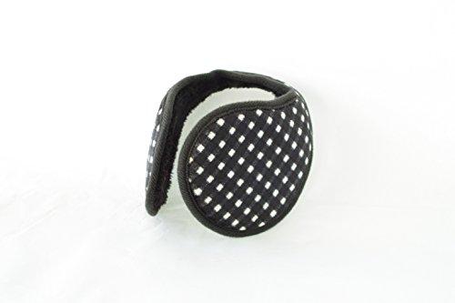 TPOS イヤーマフ 耳あて 耳カバー シンプル コンパクトなイヤウォーマー チェック柄 6色 (黒×白)