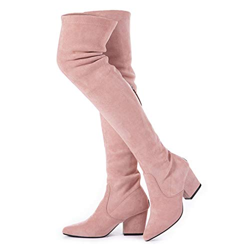 N.N.G Women Boots Winter Over Knee Long Boots Fashion Boots Heels Autumn Quality Suede Comfort Square Heels US Size (7.5, Pink(Classic))