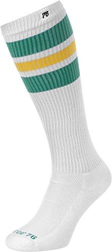Spirit of 76 The green Sunnies | Retro Socken Weiß, Grün und Gelb gestreift | kniehoch | Unisex Strümpfe Size M (39-42)