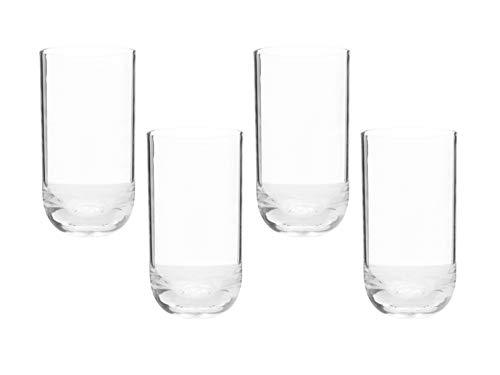 Set 4 vasos high ball de acrilico. Tubulares. 640 ml cada uno.