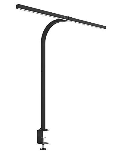 Unilux LED Schreibtischlampe Strata zum Klemmen, schwarz, dimmbar, 80 cm breit, mit Lichtsensor, IP23, 700lm, 6400K, 12,7W