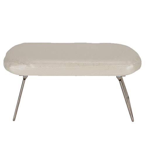 Nail Art Hand Pillow PU cuero acero inoxidable en forma de esponja estación de mesa de uñas para salón de uñas(Blanco beige)